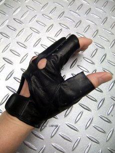 画像3: パンク・ロック系フィンガーレス レザーグローブ 日本製 黒(ブラック) (3)
