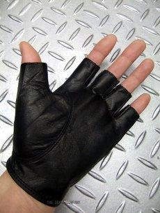 画像4: パンク・ロック系フィンガーレス レザーグローブ 日本製 黒(ブラック) (4)