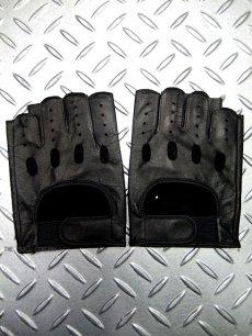 画像1: パンク・ロック系フィンガーレス レザーグローブ 日本製 黒(ブラック) (1)