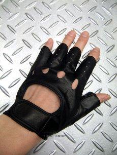 画像2: パンク・ロック系フィンガーレス レザーグローブ 日本製 黒(ブラック) (2)