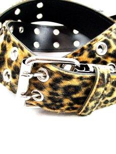 画像2: パンク・ロック系ファッションベルト:豹柄フェイクファー ロング Lサイズ 大きいサイズ (2)