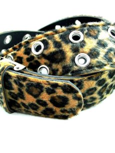 画像3: パンク・ロック系ファッションベルト:豹柄フェイクファー (3)