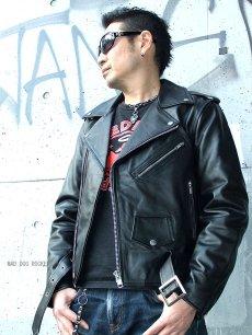 画像3: 【送料無料】メンズUSダブルタイプ牛本革ライダース 黒(ブラック) (3)