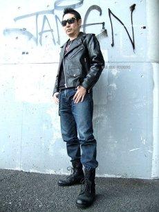 画像2: 【送料無料】メンズUSダブルタイプ牛本革ライダース 黒(ブラック) (2)