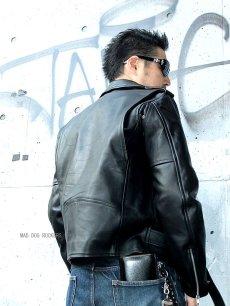 画像4: 【送料無料】メンズUSダブルタイプ牛本革ライダース 黒(ブラック) (4)