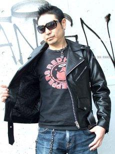 画像5: 【送料無料】メンズUSダブルタイプ牛本革ライダース 黒(ブラック) (5)