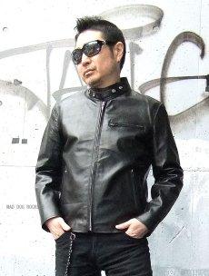 画像3: 【送料無料】メンズUSシングルタイプ牛本革ライダース 黒(ブラック) (3)