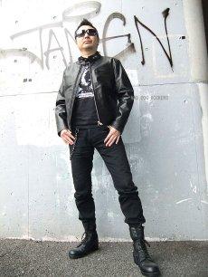 画像2: 【送料無料】メンズUSシングルタイプ牛本革ライダース 黒(ブラック) (2)