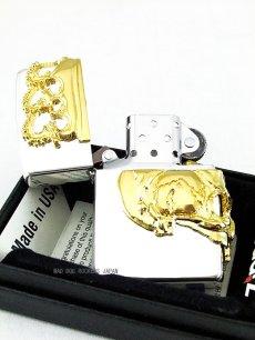 画像2: 【デッドストック】Zippoジッポーライター:スカルクラウン BBZ-スカルKG2日本限定モデル シルバー(銀) (2)