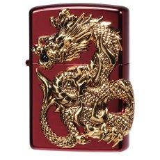 画像1: Zippoジッポーライター:ドラゴンメタル 龍 天然オニキス入り RED限定 (1)