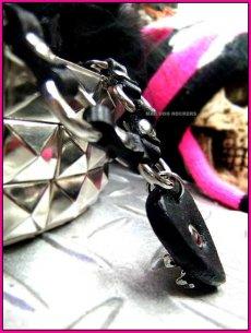 画像3: パンク・ロック系チョーカー:ロッキンチェーン・レザーピックスカルスタッズ (3)