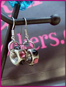画像1: パンク・ロック系ピアス:ナット ピンク&ブラック (1)