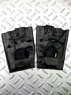 画像1: パンク・ロック系指貫本革グローブ 黒(ブラック) (1)