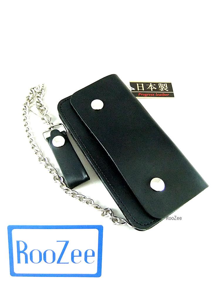 画像1: シンプルな本革ロングウォレット チェーン付き ブラック (1)