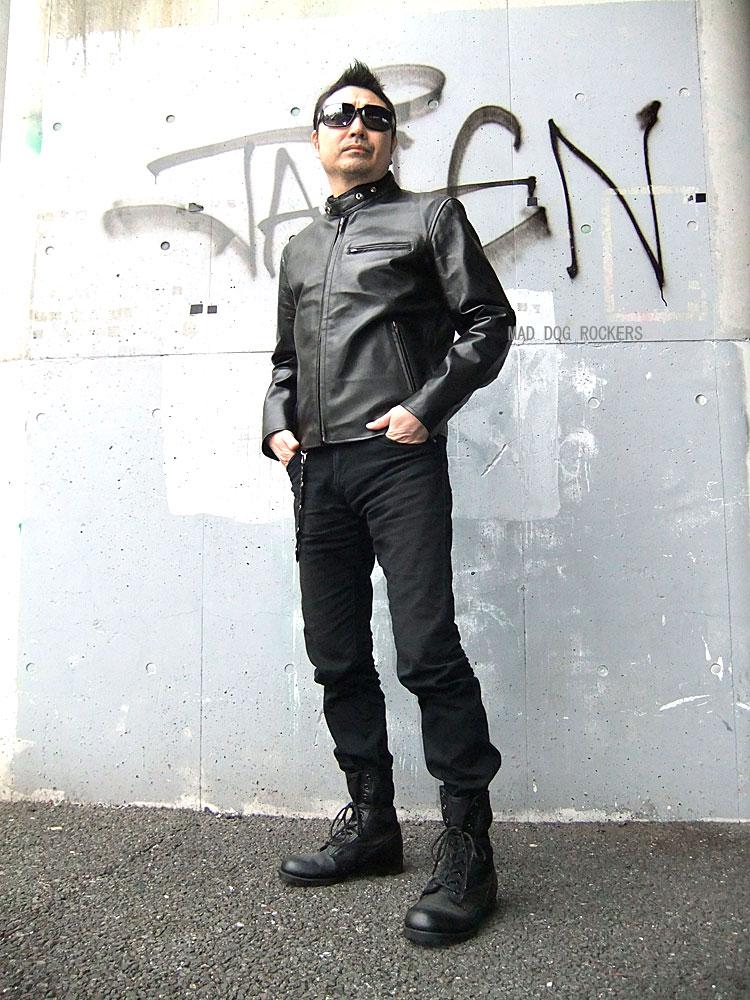 画像1: 【送料無料】メンズUSシングルタイプ牛本革ライダース 黒(ブラック) (1)