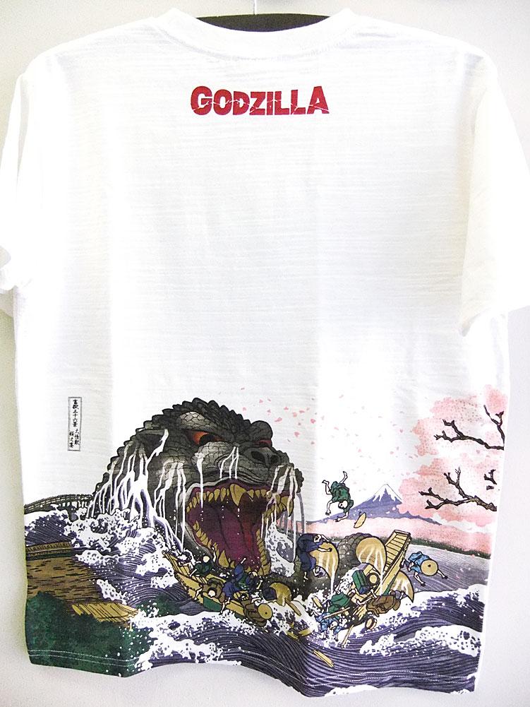 画像1: ゴジラ×浮世絵 抜染Tシャツ 富嶽三十六景大怪獣 桜之宴 白 ホワイト (1)