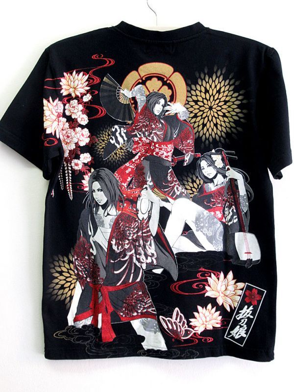 画像1: 抜刀娘 和柄Tシャツ 祭り三人娘 妃那&穂乃花&葵 黒 ブラック (1)