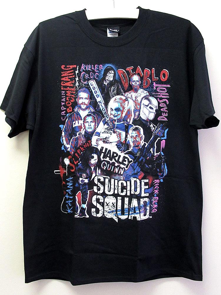 画像1: オフィシャル アメコミTシャツ:SUICIDE SQUAD HARLEY'S CHARACTER COLLAGE ブラック (1)