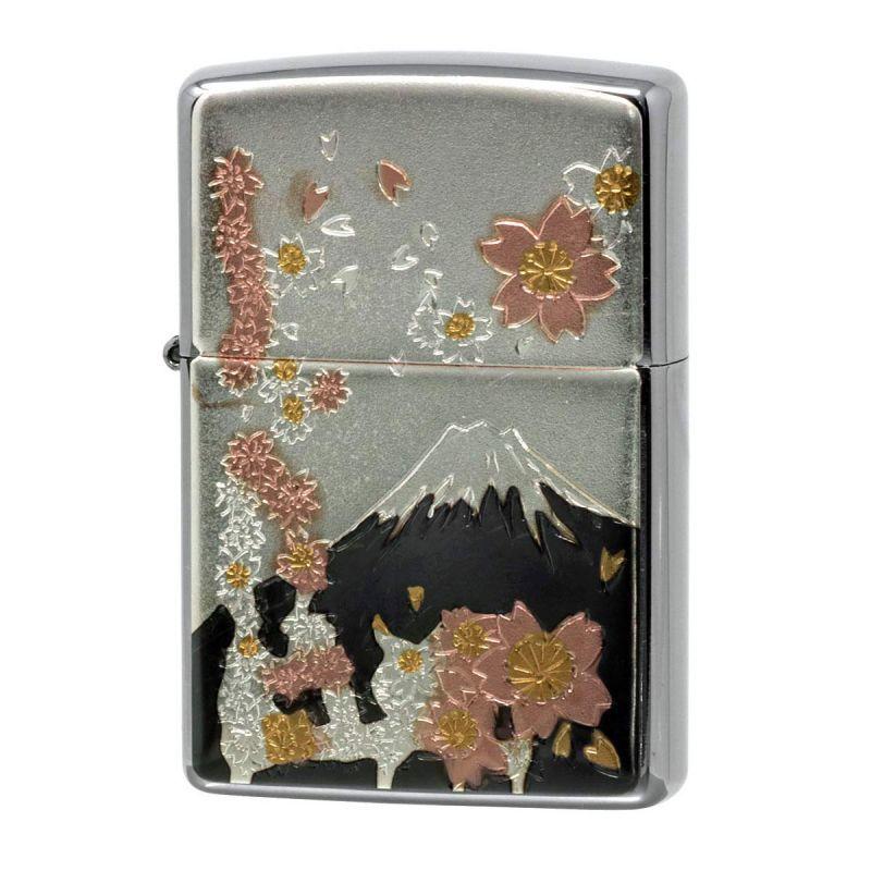 画像1: Zippoジッポーライター:ZP 電鋳板 桜富士 (1)