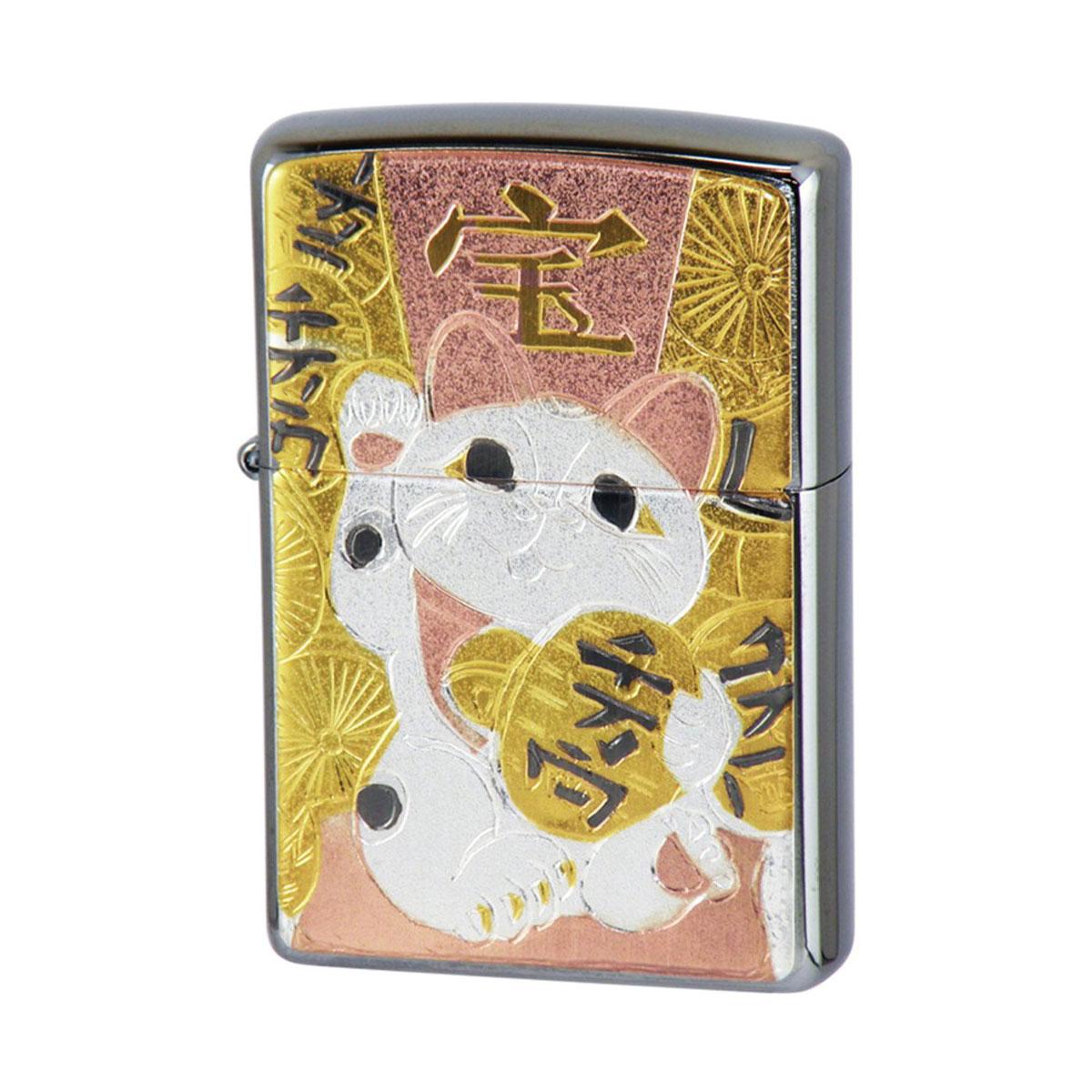 画像1: Zippoジッポーライター:ZP 電鋳板 招き猫 (1)