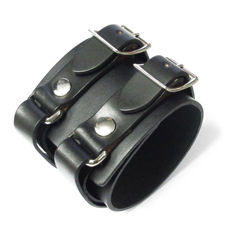画像1: パンク ロック系 本革 レザー ダブル バックル ブレスレット (1)