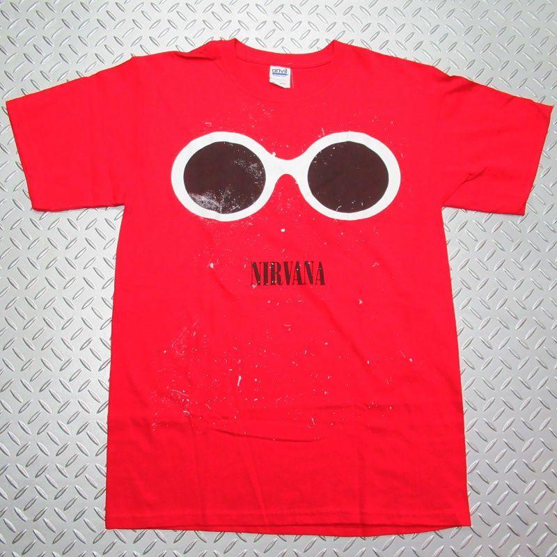 画像1: オフィシャル バンドTシャツ:NIRVANA SPLATTER GLASSES レッド (1)