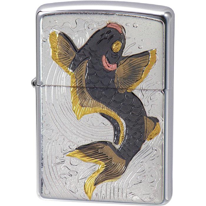 画像1: Zippoジッポーライター:ZP 電鋳板 大鯉 (1)