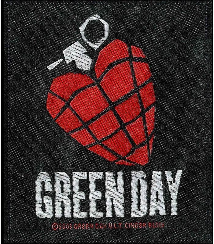 画像1: オフィシャル バンド ワッペン:GREEN DAY HEART GRENADE (1)