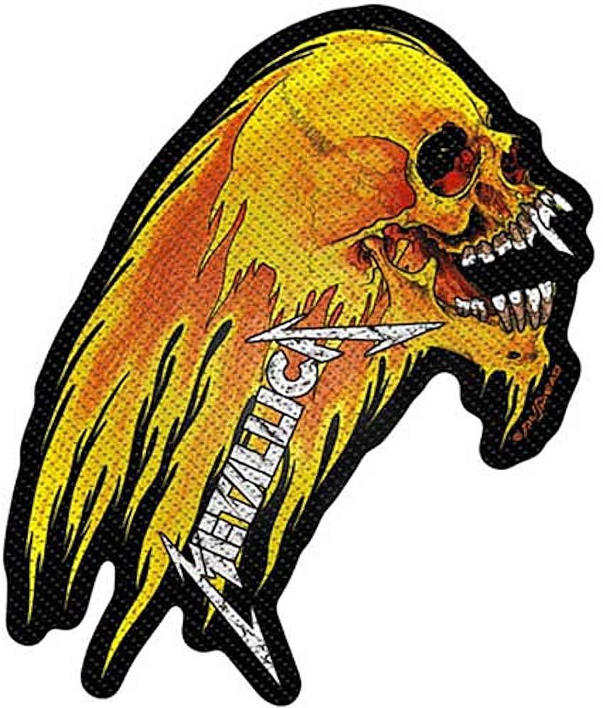 画像1: オフィシャル バンド ワッペン:Metallica FLAMING SKULL CUT-OUT (1)