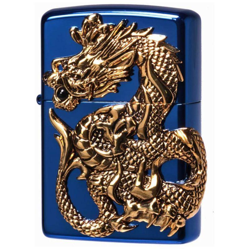 画像1: Zippoジッポーライター:ドラゴンメタル 龍 天然オニキス入り BLUE限定 (1)